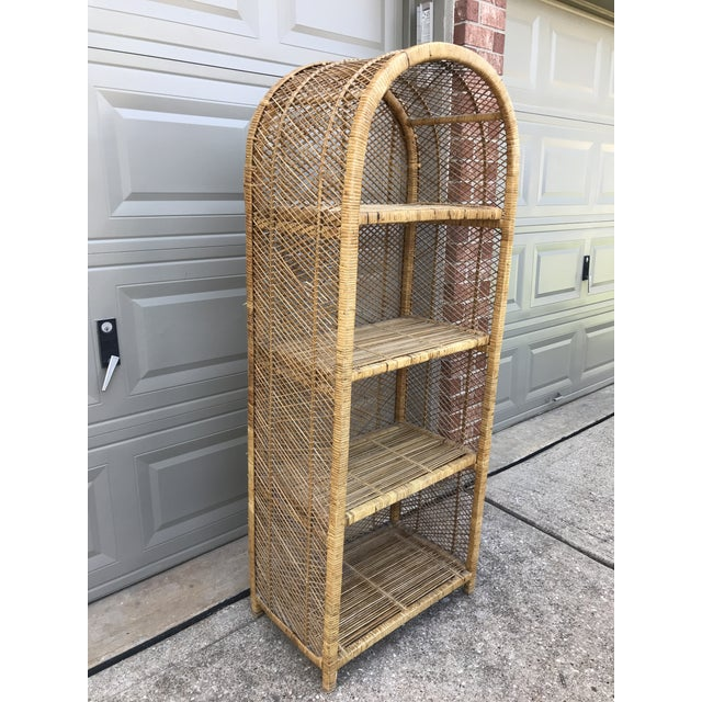 Gorgeous Vintage Rattan Bookshelf Iconic Bohemian Bookcase With Arched Top And Wrapped Edges Features