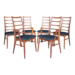 "6 Koefoeds Hornslet ""Lis"" Teak Dining Chairs New Upholstery For Sale"