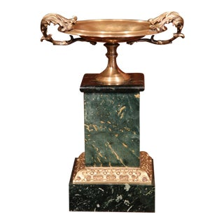 19th Century, French Brass Vide Poche Dish With Green Marble Base For Sale