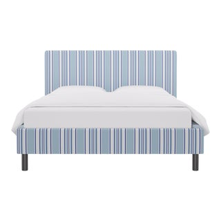 Queen Tailored Platform Bed In Porcelain Austin Stripe By Old World Weavers For Sale
