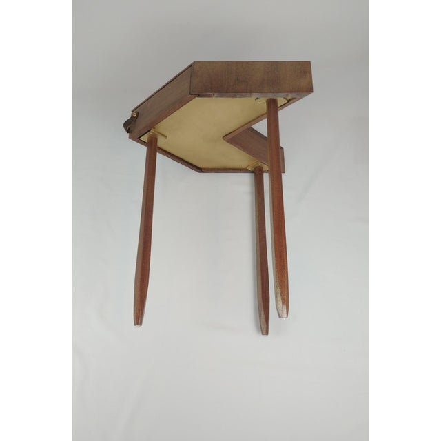 Modern Chevron Shape Walnut Wood Side Table For Sale - Image 4 of 8