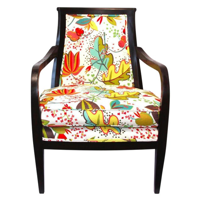 Floral Upholstered Wood Armchair - Image 1 of 3
