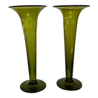Hand Blown Green Vintage Glass Flute Vases - a Pair For Sale