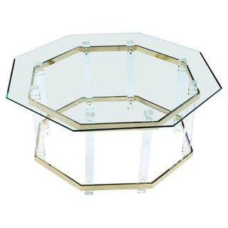 Vintage 1970s Hollywood Regency Acrylic Lucite Glass and Brass Coffee Table Preview