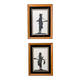 Pair, Silhouettes, Framed For Sale