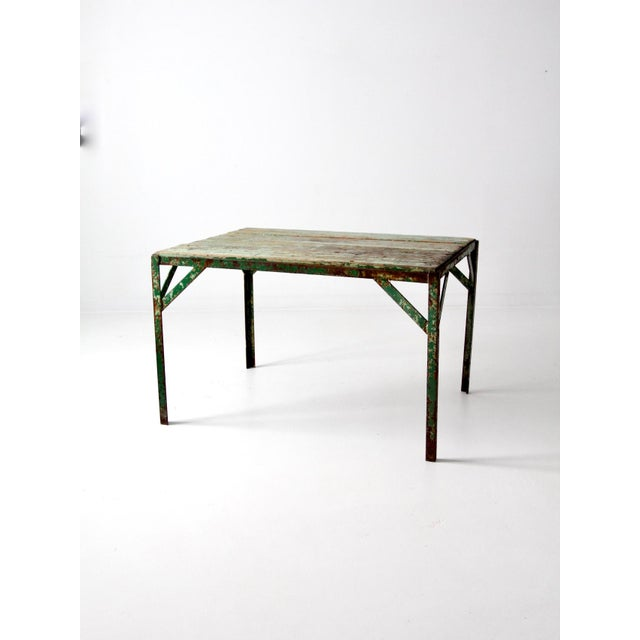 Vintage Wood Top Work Table For Sale - Image 11 of 11