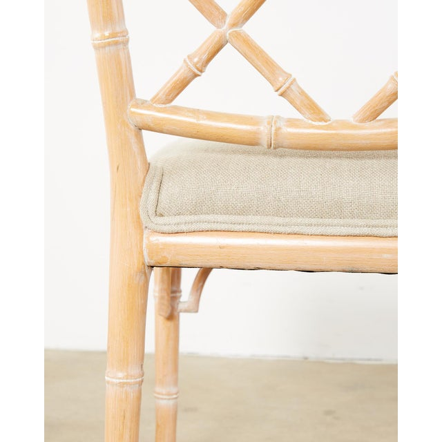 Beige Faux Bamboo Chinese Chippendale Dining Chairs - Set of 3 For Sale - Image 8 of 13
