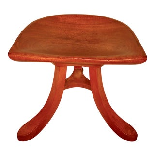 Vintage Early 20th Century Sculpted Ash Tripod Saddle Stool For Sale