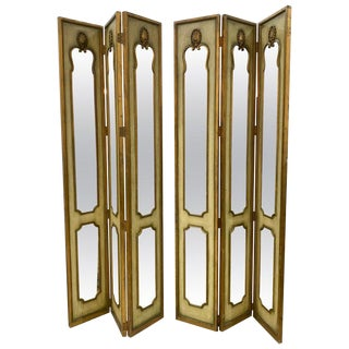 Pair of Tall Hollywood Regency Venetian Polychomed Mirrored Three- Panel Screens For Sale