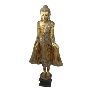 Thailand Style Gold Gilt & Bejeweled Standing Buddha Sculpture For Sale
