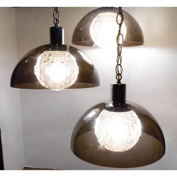 Vintage Virden Lighting (marked) 3 Tier Chandelier MCM Crystal Balls and Lucite Diffuser Shades / Hollywood Regency Lamp...