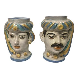 Figurative Sicilian Vases - a Pair For Sale
