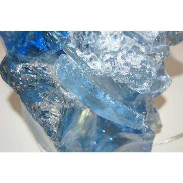 Blue Glass Rock Table Lamps by Swank Lighting Blue Crystal - a Pair For Sale - Image 8 of 10
