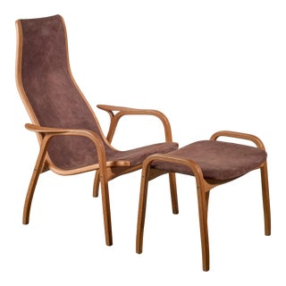 Yngve Ekstrom Lamino Chair With Ottoman, Sweden For Sale