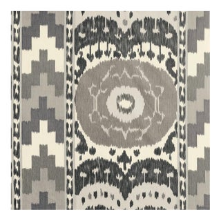 Sample, Schumacher Samarkand Ikat Ii Fabric in Charcoal For Sale