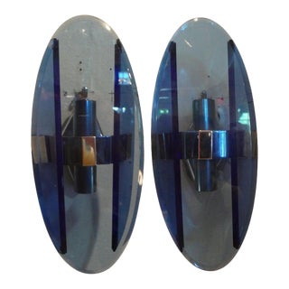 1960's Italian Fontana Arte Style Blue Glass Sconces-Pair For Sale