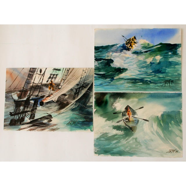 "Dramatic set of three watercolor seascapes. One is two-sided. All three signed ""ARM '75,"" lower right. The detailed..."
