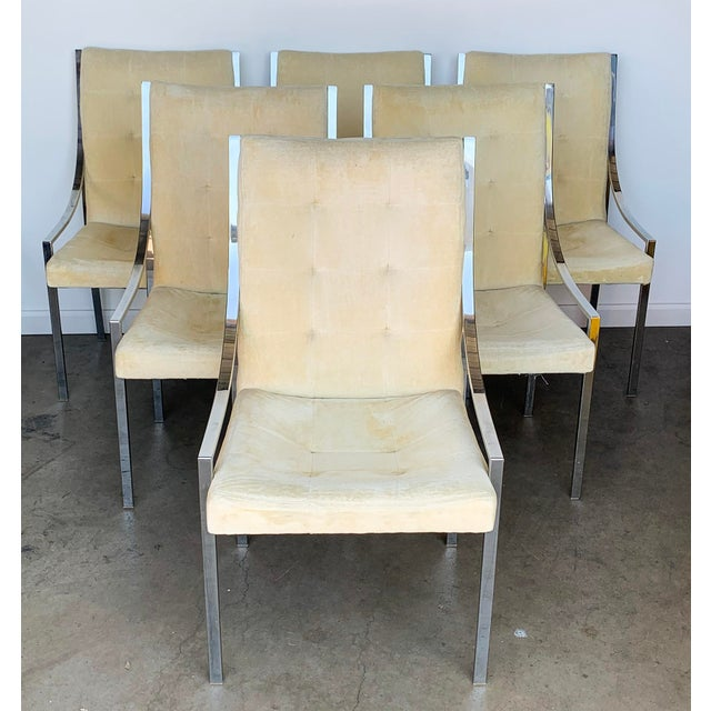 Set of 6 Chrome Dining Chairs Attributed to Milo Baughman For Sale In Phoenix - Image 6 of 9