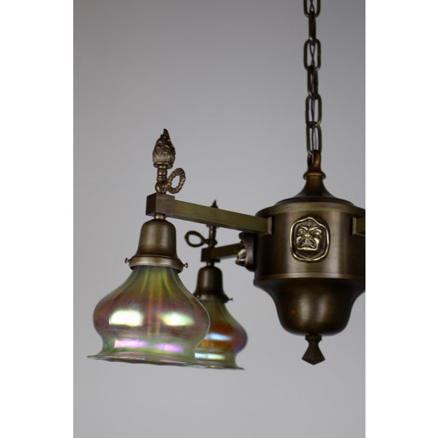 "Arts & Crafts ""Monk Head"" Fixture with Art Glass (4-Light) - Image 6 of 8"