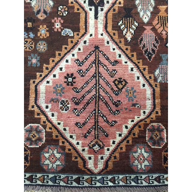 Islamic 1970s Vintage Shiraz Brown and Rose Pink Rug - 3′8″ × 7′6″ For Sale - Image 3 of 9