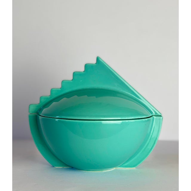 1980s Memphis Salins France Aqua Sugar Bowl With Lid For Sale - Image 9 of 9