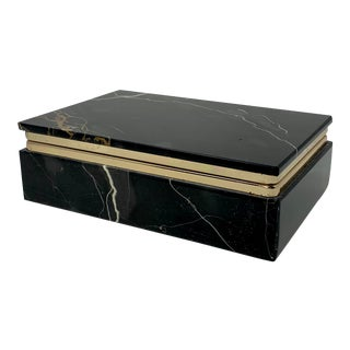 Mid Century Italian Black Marble Brass Mount Hinged Box For Sale