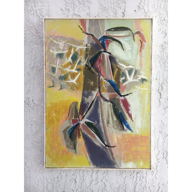 1960s Vintage Abstract Flowers & Birds Painting For Sale - Image 11 of 11