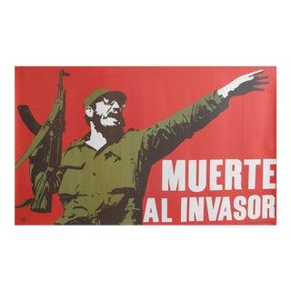 1970's Originale Cuban Exhibition Poster - Muerte Al Invasor (Fidel Castro Ruz)