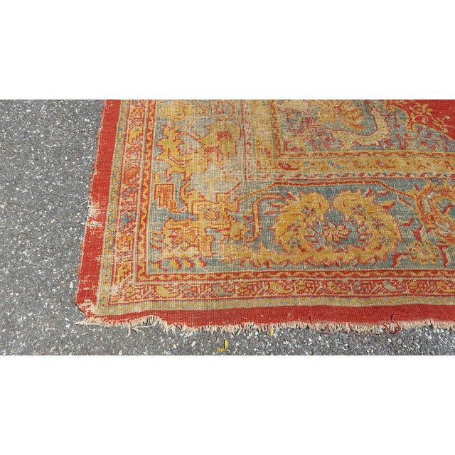 Gold Early 19th Century Antique Turkish Oushak Rug - 9′6″ × 13′4″ For Sale - Image 8 of 12
