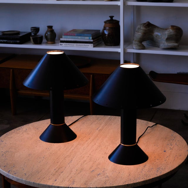 1980s Pair of Ron Rezek Table Lamps For Sale - Image 5 of 11