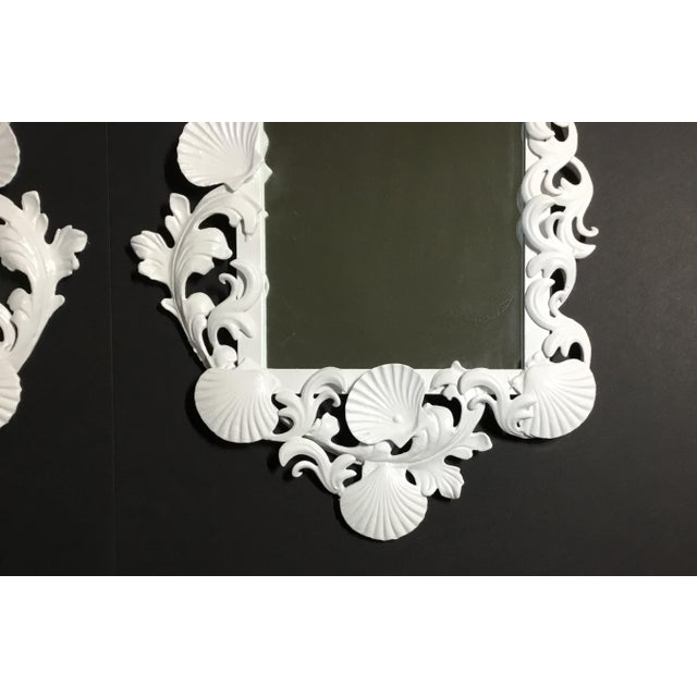 White Sea Shell Mirrors - a Pair For Sale - Image 11 of 13