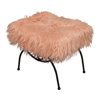 1970s Pink Faux Fur on a Mid-Century Metal Base Ottoman For Sale