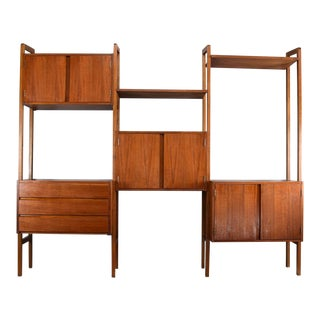 Mid-Century Danish Modern Wall Unit Bookcase Room Divider For Sale