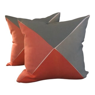 Serena & Lily Color Block Pillows - A Pair For Sale