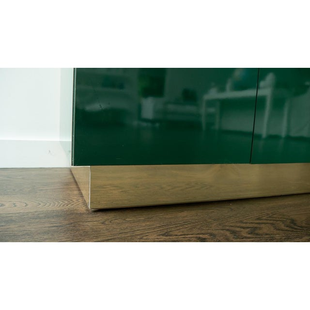 Metal 1960's Hollywood Regency Emerald Green Laminate Credenza For Sale - Image 7 of 13