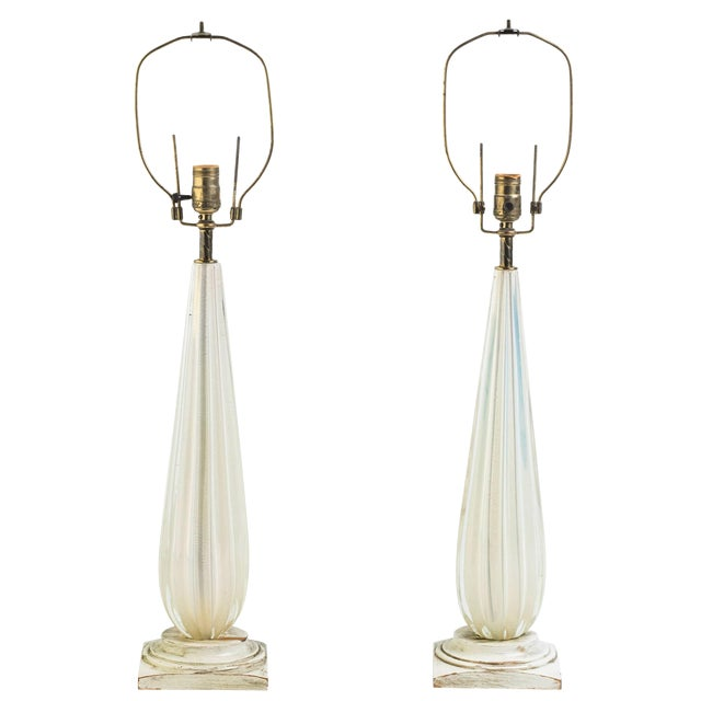 Pair of 1960s Gold Fleck Murano Lamps For Sale