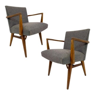 Rare Pair of Jens Risom Upholstered and Walnut Armchairs Model #205 For Sale