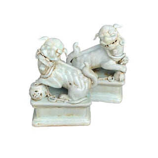 "Asian Celadon Porcelain Foo Dogs, 11"" H - a Pair Preview"