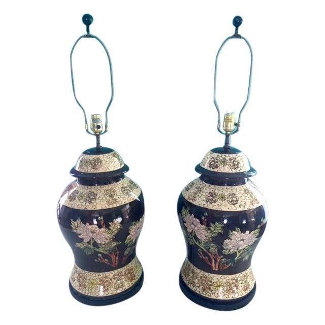 Vintage Ginger Jar Lamps - A Pair - Image 1 of 9