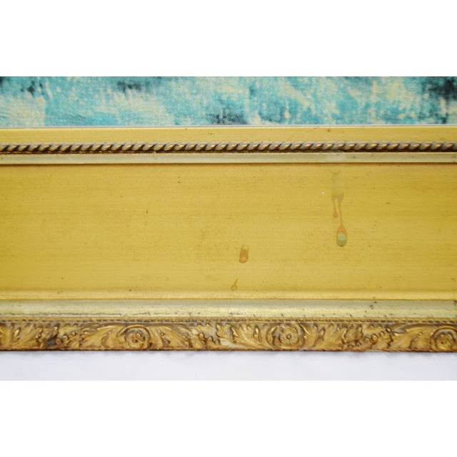 """Blue Vintage Gold Gilt Framed Renoir """"Boating on the Seine"""" Print on Board For Sale - Image 8 of 13"""