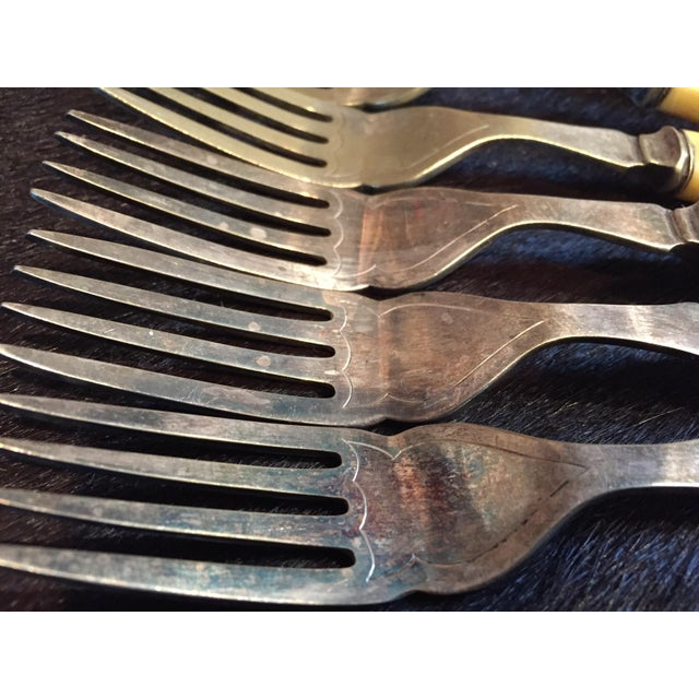 """Beautiful Victorian Celluloid Handle Flatware Set With 6 Knives And 6 Forks. Circa 1850-1899 The Knives Are Each 8"""" Long..."""