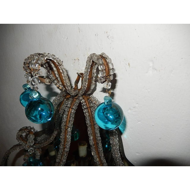 French Micro Beaded Mirror Aqua Blue Murano Drops Sconces For Sale - Image 9 of 10