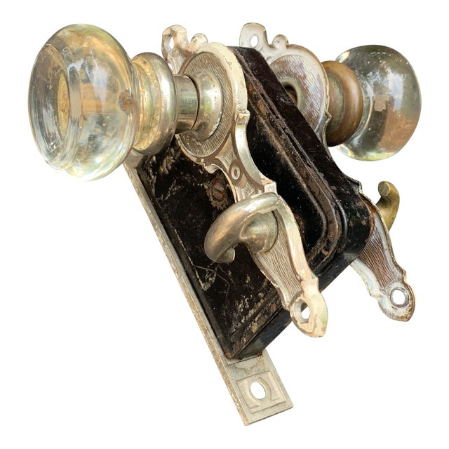 Antique Mortise Door Lock With Crystal Clear Glass Door Knobs For Sale