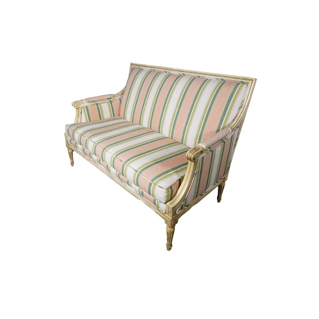 Carved Settee Sofa Loveseat - Image 2 of 4