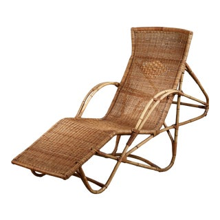 Bamboo and Cane Adjustable Chaise, 1950s For Sale