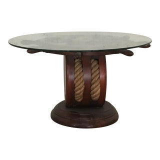 Nautical Ships Wheel Side Table
