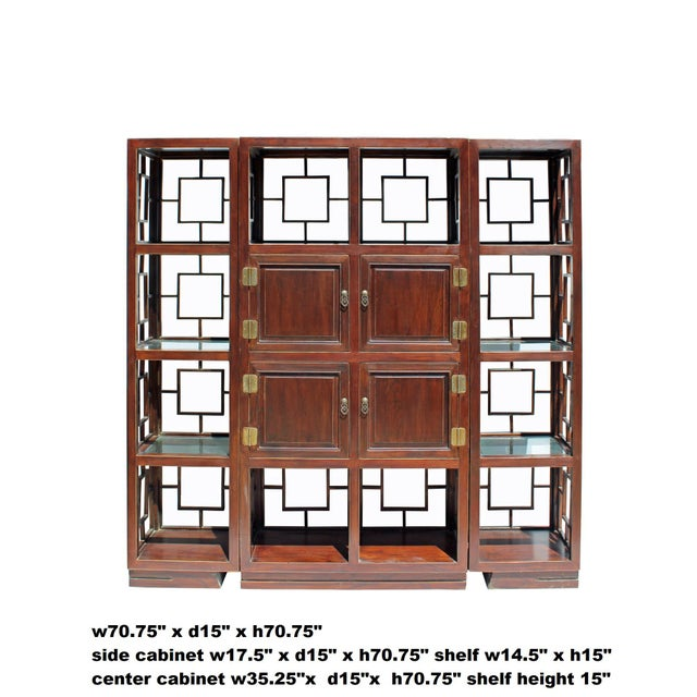 Brown Chinese Set of 3 Vintage Elm Wood Glass Shelf Display Curio Cabinet Room Divider For Sale - Image 8 of 8