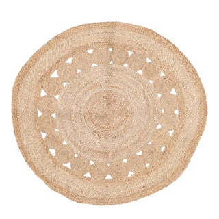 Indian Braided Jute Accent Rug - 3′ × 3′