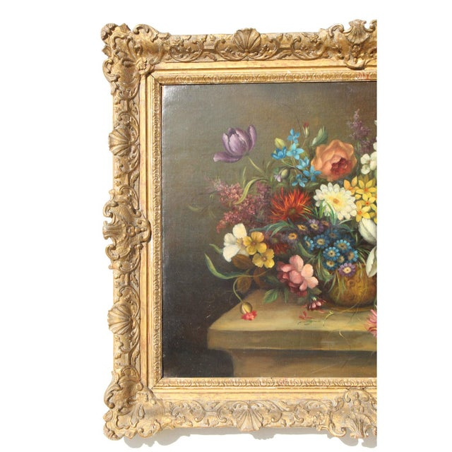 Italian Early 20th C. Dutch Italian Floral Painting For Sale - Image 3 of 10
