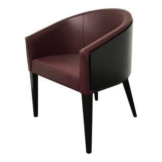Cuff and Collar Guest Chair in Plum Leather For Sale